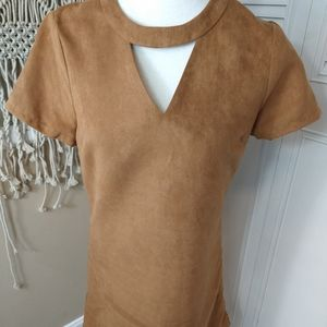 Julia Brown keyhole suede tan brown dress 4